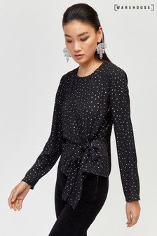 Warehouse Black Iridescent Spot Top
