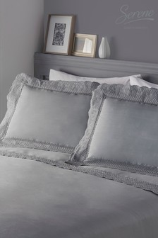 Serene Renaissance Embroidered Edge Duvet Cover and Pillowcase Set