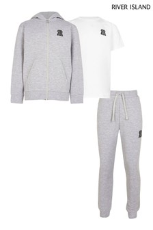 River Island Grey Older Boys Hoodie, T-Shirt And Joggers 3 Piece Set