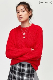Warehouse Bright Red Cable Knit Jumper
