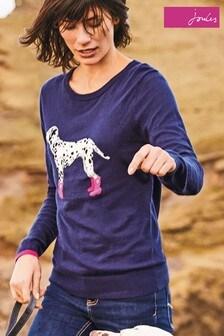 Joules Blue Miranda Dalmatian Intarsia Jumper