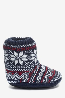 Fairisle Pattern Slipper Sock Boots (Older)