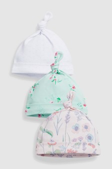 Floral Tie Top Hats Three Pack (0-18mths)