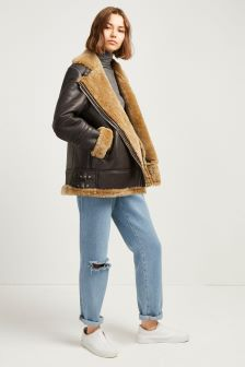 French Connection Brown Shearling Jacket