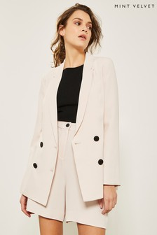 Mint Velvet Nude Double Breasted Blazer