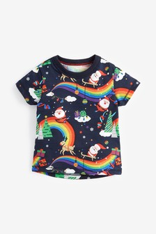 Short Sleeve Rainbow Santa T-Shirt (3mths-7yrs)