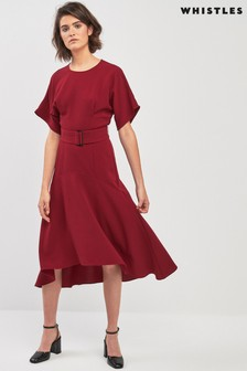 Whistles Textured Belted Midi Dress