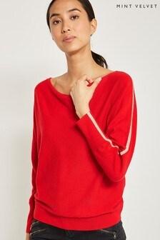 Mint Velvet Red Scarlet Striped Slouchy Knit