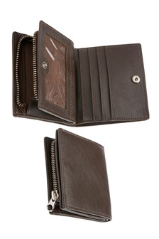 Leather Bifold Wallet With Zip Pocket