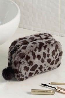 Leopard Faux Fur Cosmetic Bag