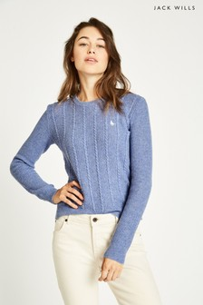 Jack Wills Blue Tinsbury Cable Crew