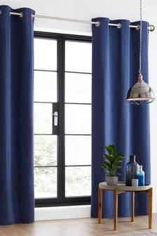 Stone Wash Pleated Band Eyelet Curtains