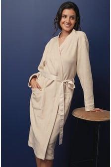 Stretch Fleece Robe With Satin Tie