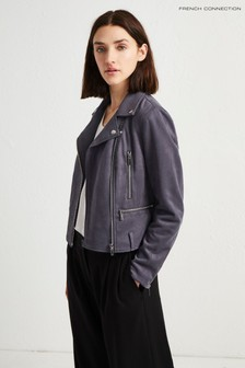 French Connection Grey Suedette Biker Jacket