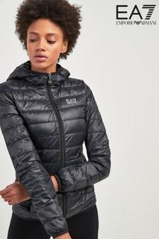 Emporio Armani EA7 Black Packaway Down Padded Hooded Jacket
