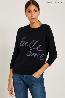 Mint Velvet Blue Belle Ame Embroidered Knitted Sweat