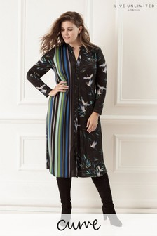 Live Unlimited Bird Stripe Midi Shirt Dress