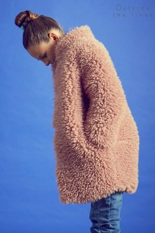 Outside The Lines Pink Blush Shaggy Fur Coat