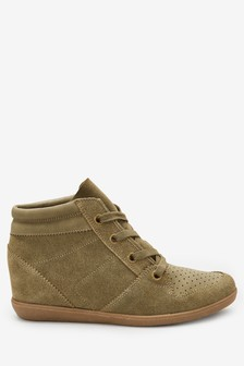 Signature Comfort Suede Wedge High Top Trainers