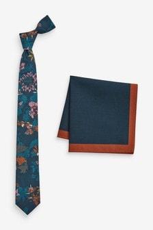 Floral Tie And Plain Pocket Square Set