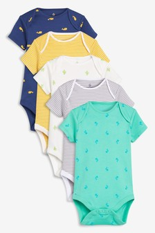 Print & Stripe Short Sleeve Bodysuits Five Pack (0mths-2yrs)