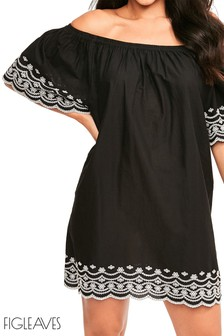 Figleaves Black Daisy Off Shoulder Dress