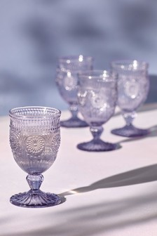 Set of 4 Vintage Embossed Wine Glasses