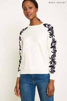 Mint Velvet White Embroidered Sleeve Knitted Sweat