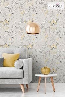 Crown Yellow Mariko Floral Wallpaper