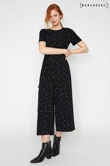 Warehouse Black Estella Star Print Jumpsuit