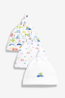 Car Print Tie Top Hats Three Pack (0-18mths)