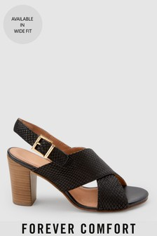Snake Effect Leather Crossover Sandals