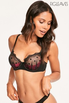 Figleaves Red Darcy Spot Embroidery Underwired Bra
