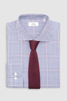 Check Slim Fit Shirt With Burgundy Knitted Tie