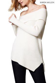 Karen Millen White Asymmetric Rib Bardot Jumper