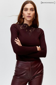 Warehouse Dark Red Lace High Neck Top