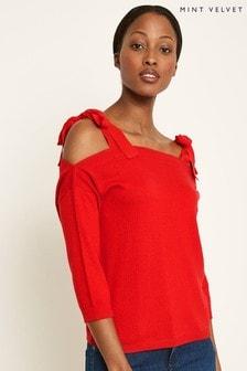 Mint Velvet Red Silk Tie Detail Knit