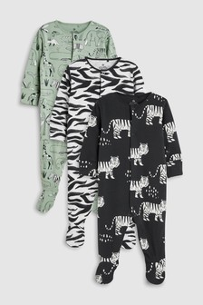 Animal Character Print Sleepsuits Three Pack (0mths-2yrs)
