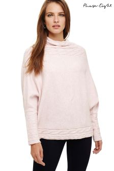 Phase Eight Pink Corine Cable Knitted Jumper