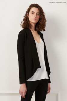 French Connection Black Josie Jersey Drape Front Jacket