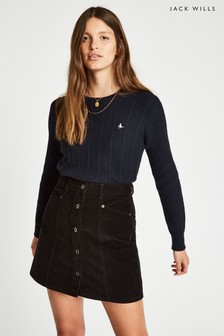 Jack Wills Navy Tinsbury Cable Crew