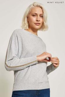 Mint Velvet Grey Metallic Insert Slouchy Knit