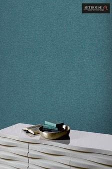 Arthouse Teal Linen Texture Wallpaper