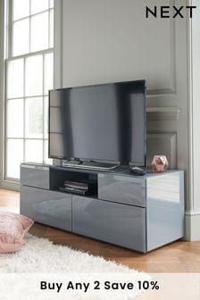 Sloane Grey Glass Wide TV Stand