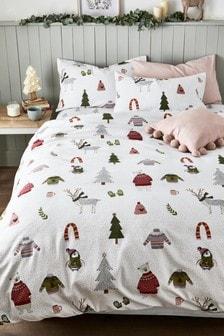 Brushed Cotton Festive Friends Duvet Cover And Pillowcase Set