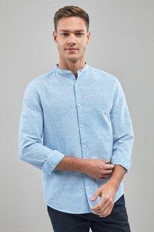 Linen/Cotton Grandad Collar Long Sleeve Shirt