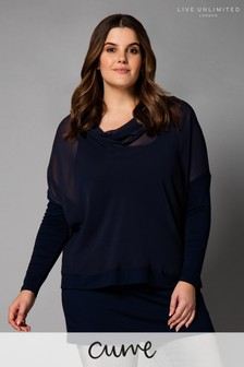 Live Unlimited Blue Chiffon Cowl Overlay Top