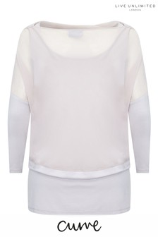 Live Unlimited Natural Chiffon Cowl Overlay Top