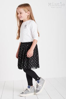 Mintie by Mint Velvet Black Foil Printed Polka Dot Tutu Skirt