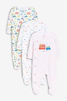 Transport Print Sleepsuits Three Pack (0mths-2yrs)